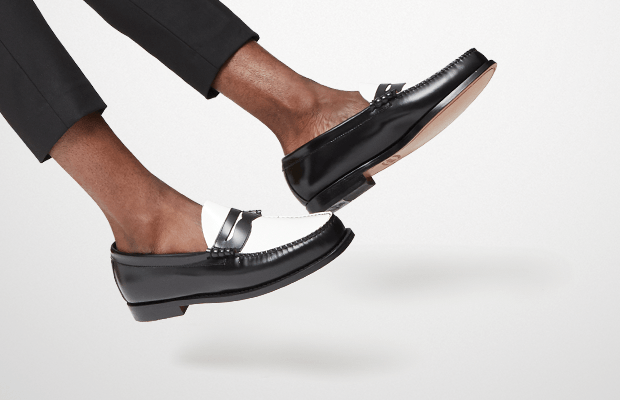 Make A Statement With These Black & White Penny Loafers ...