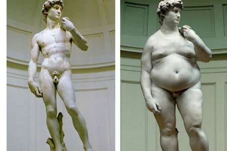 Statue of a chiseled man versus a statue of a fat man
