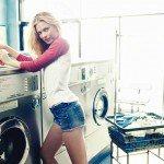 girl, model, short shorts, blonde, laundromat