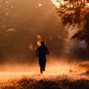 man running in the forest and myth