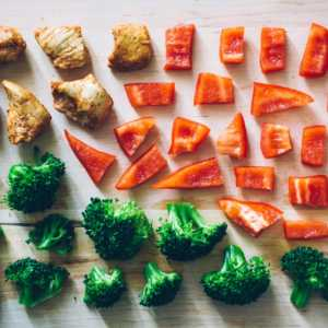 broccolli, red pepper and pieces of chicken laid out for meal prep