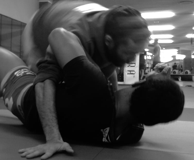 Nathan Fredericks and Luke Michael spar during training. (Leigh Schaller)