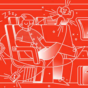 illustration of a man sitting in a plane surrounded by the annoying things you face when flying like screaming babies