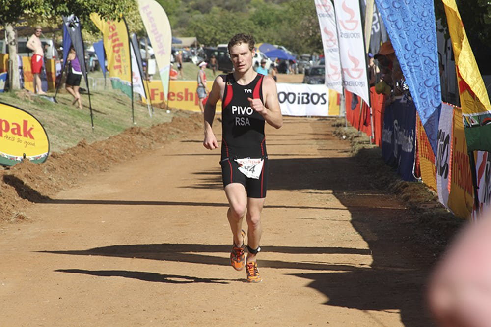Dylan Pivo in his last sprint towards the finish line