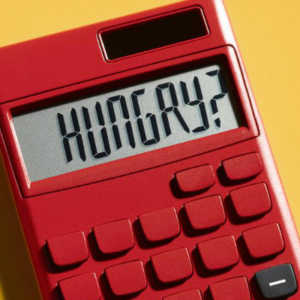 a calculator with the text hungry typed into it