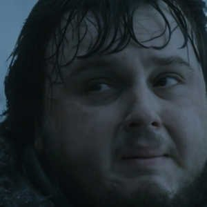 Sam from game of thrones pulling a face