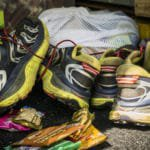 A pile of Karl Meltzer's worn out shoes, seen on his attempt to break the record for running the length of the Appalachian Trail on 9 August, 2016