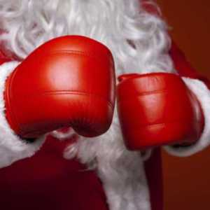 santa clause wearing red boxing gloves