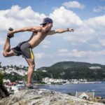 David Colturi of the USA warms up during the first training session of the fourth stop of the Red Bull Cliff Diving World Series, Kragero, Norway, on July 10th 2014.