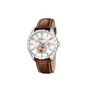 festina-brown-round-leather-watch