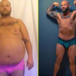 man shows off his weight loss transformation before and after