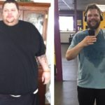 a man's before and after weight loss photos after he lost 208kgs