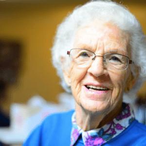 A granny smiling