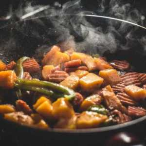 food cooking in a pan