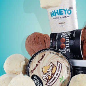 Tubs of chocolate and vanilla protein ice cream