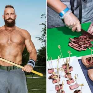 man holding a sledge hammer and the food you should be eating on a paleo diet being cut up
