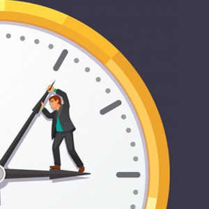 illustration of man trying to pry open the hands on a clock so he has more time