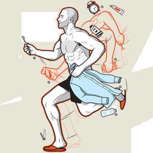 morning routine man running in the morning doing lots of things illustration