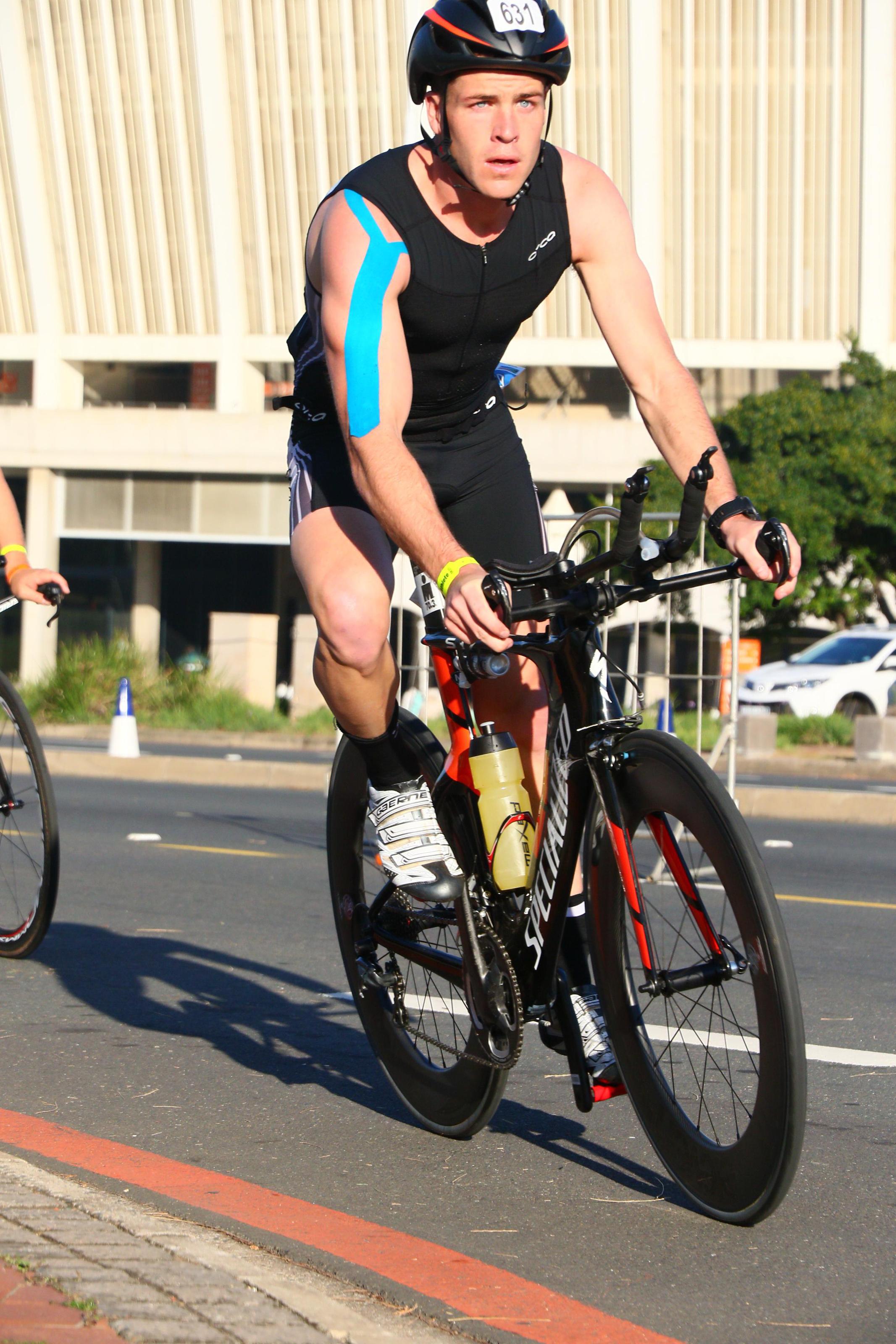 james cycling during a triathlon