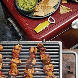 easy meals of chicken skewers on the braai and other sides for a match day