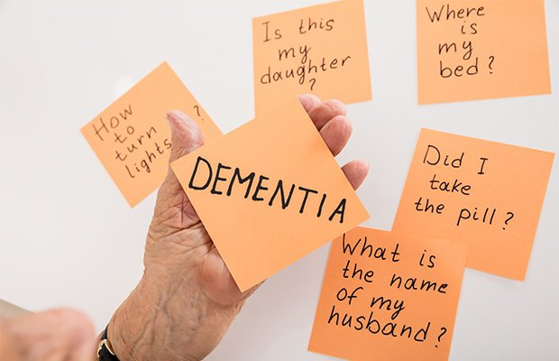 a hand holding post its with dementia on it