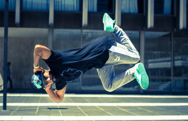 B-boy Brandon Peterson mid-air