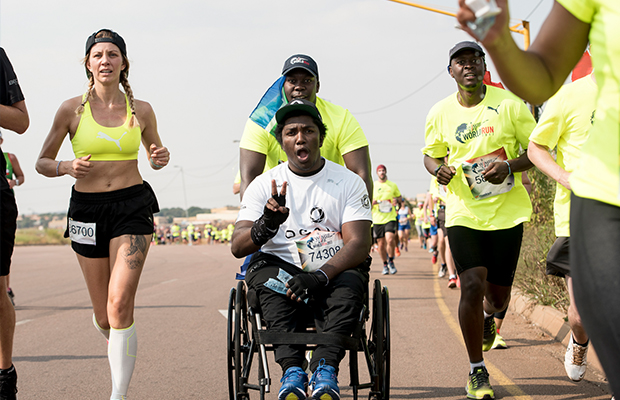 Sandile Mkhize doing his wings for life race