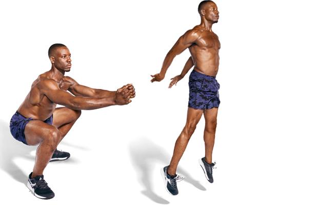 A man doing a Duck Walk to Squat Jump as part of a no-gear workout