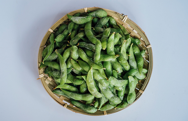 Edamame, a vegetable high in protein, in a bowl