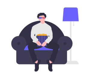 man watching a movie at home